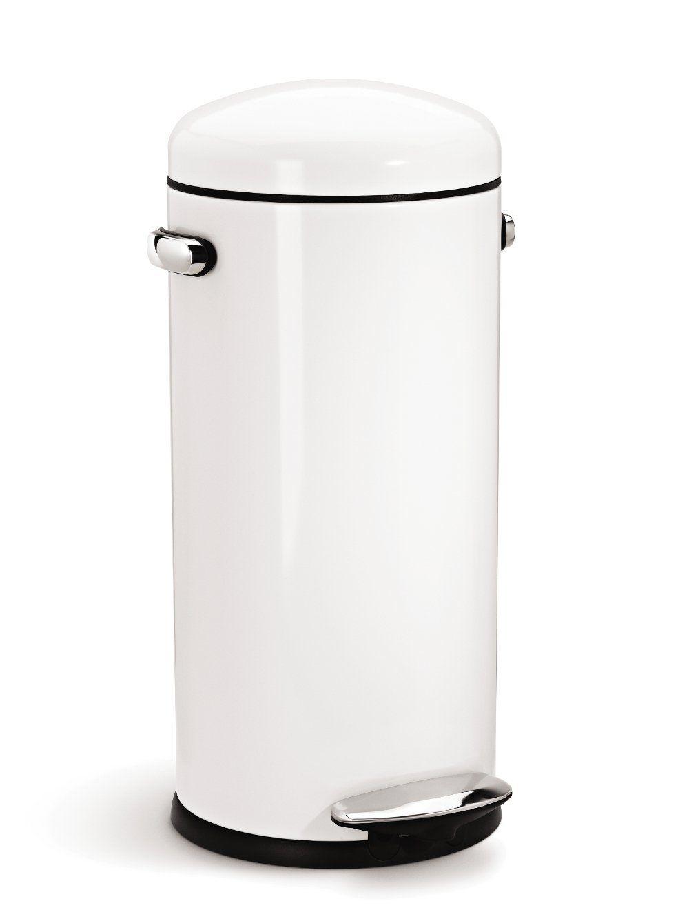 Best Amazon Com Simplehuman Round Retro Step Trash Can White 400 x 300