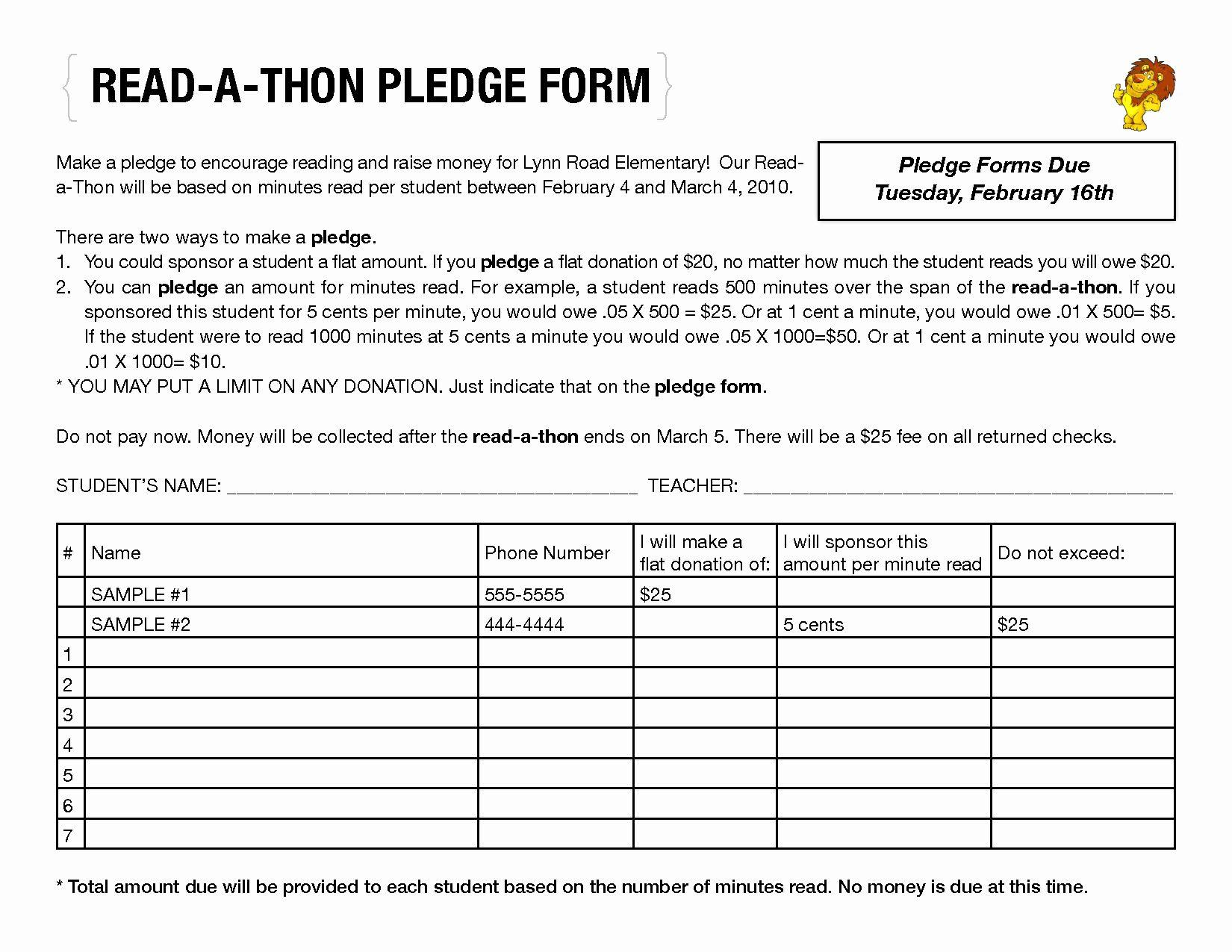 Donation Pledge Form Template Fresh Read A Thon Pledge Form By Llf Read A Thon Reading Incentives Reading Week