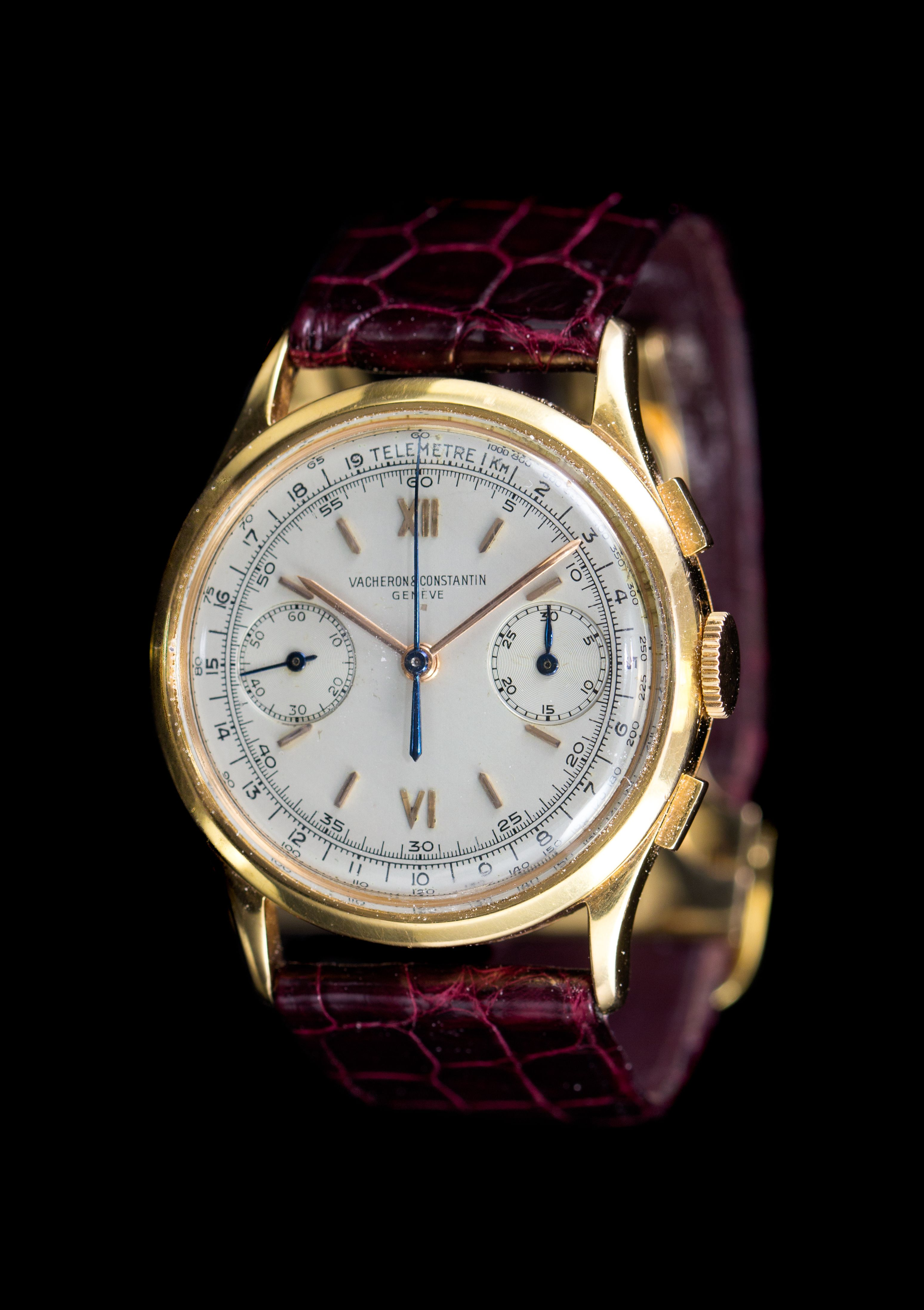 An 18 Karat Pink Gold Chronograph Wristwatch, Vacheron