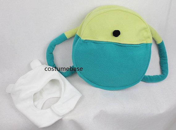 db8bad28751 Adventure time FINN HAT BACKPACK Set Bag White Cap Fleece cosplay beanie Sz  L