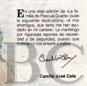 Dedicatoria de Cela de la Familia de Pascual Duarte, con motivo de la Feria del Libro de Madrid de 1995