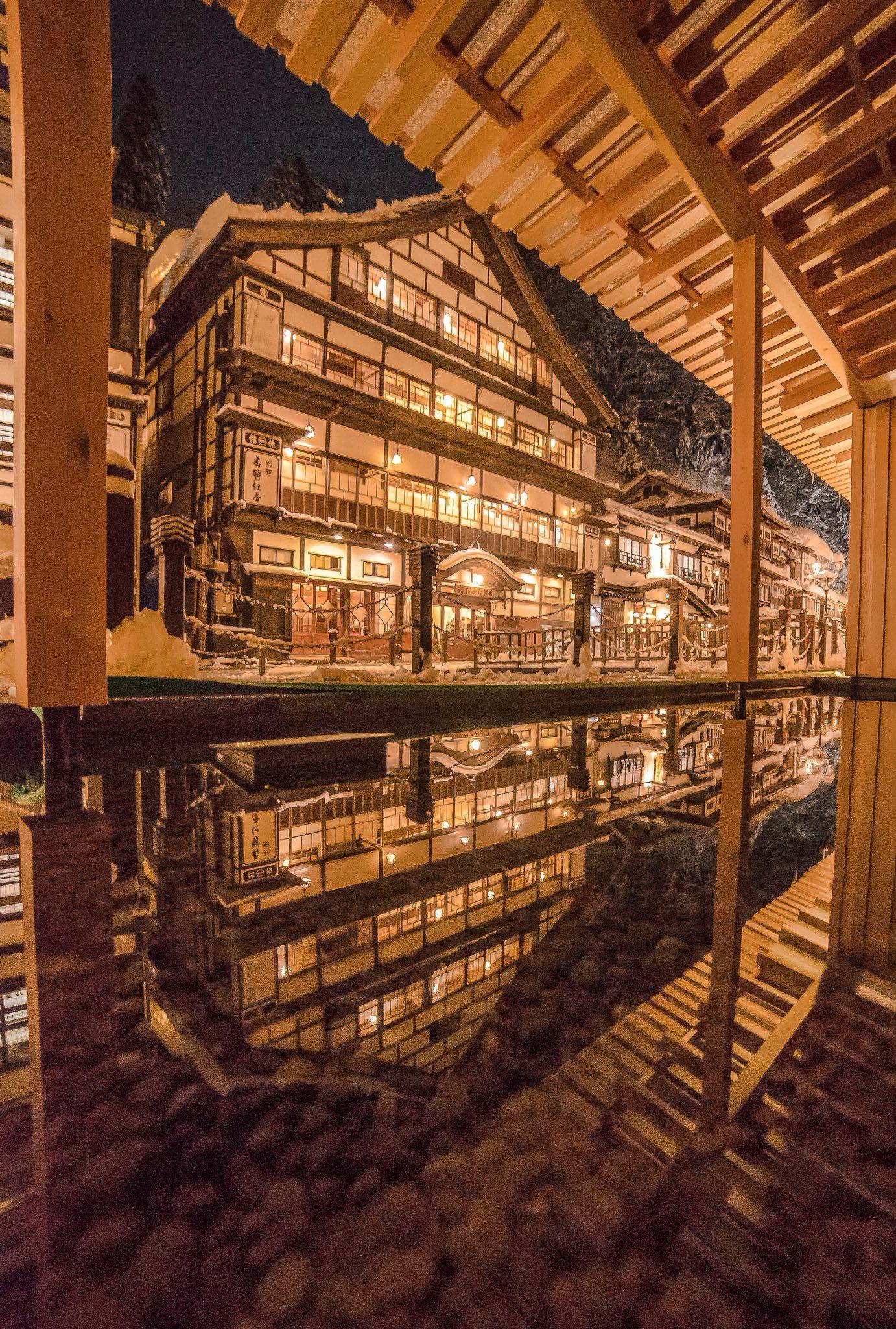 山形県 尾花沢市 銀山温泉 風景 ホテル イラスト 綺麗な景色