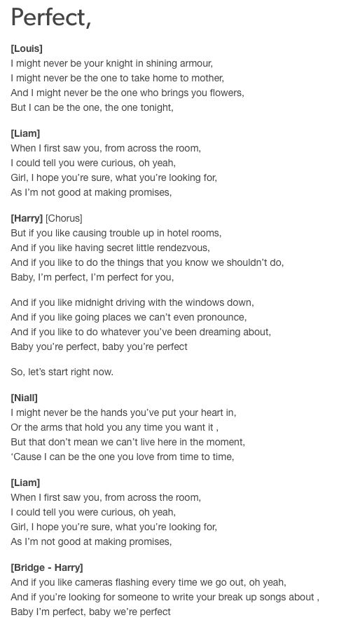 One direction perfect lyrics pictures of home