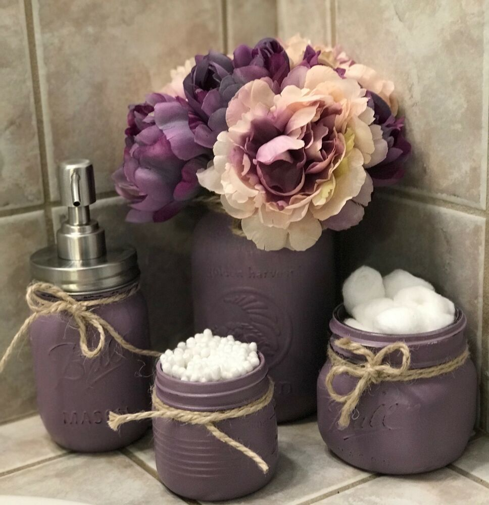 Photo of #bathroomart #bathroomdecor Mason Jar Bathroom Decor Set Hand Painted Vintage Ru…