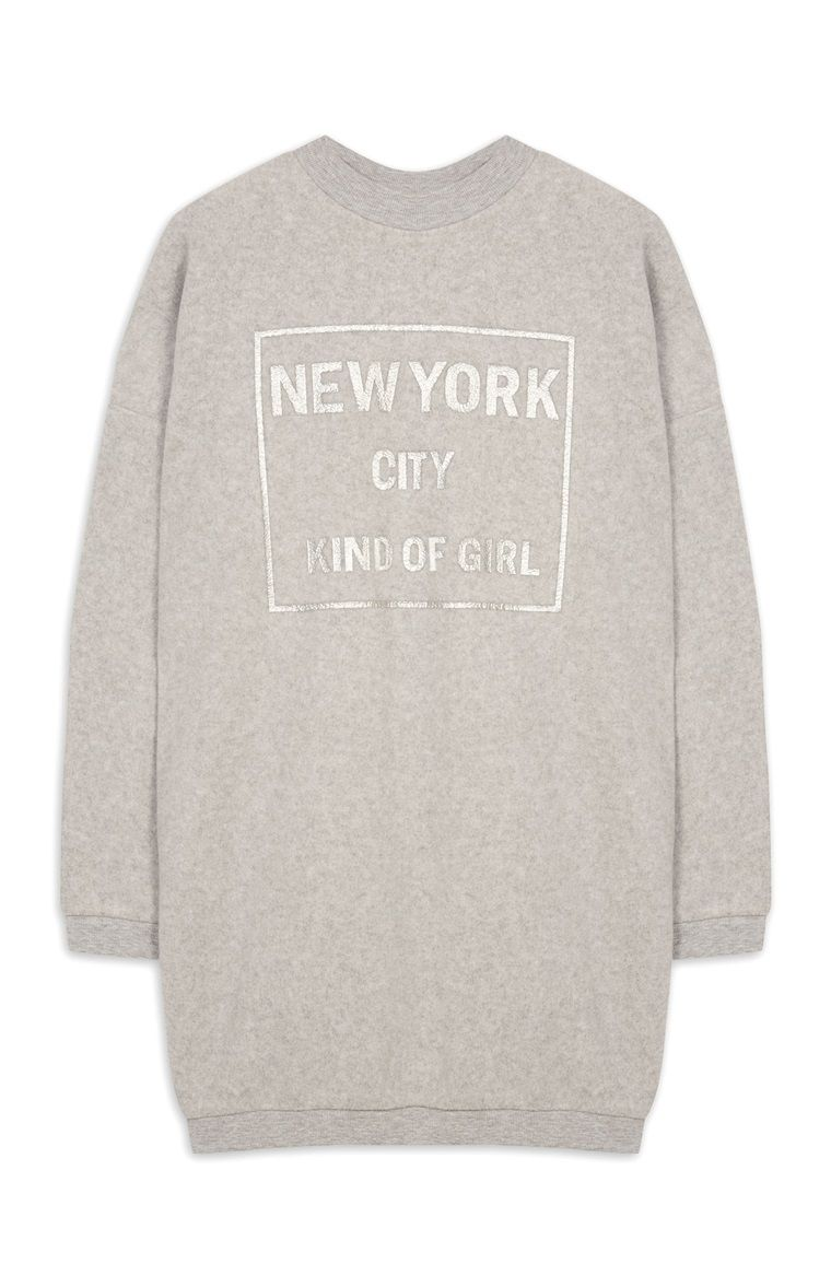 98b66beab2fb9 Primark - Grey Longline New York Slogan Sweat