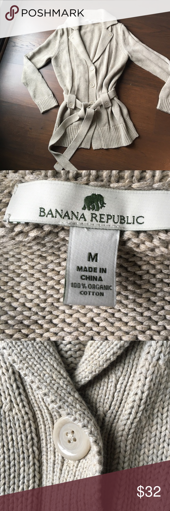 Banana Republic 100% cotton sweater - khaki color Worn once - buttoned cardigan with belt tie - organic cotton Banana Republic Sweaters Cardigans