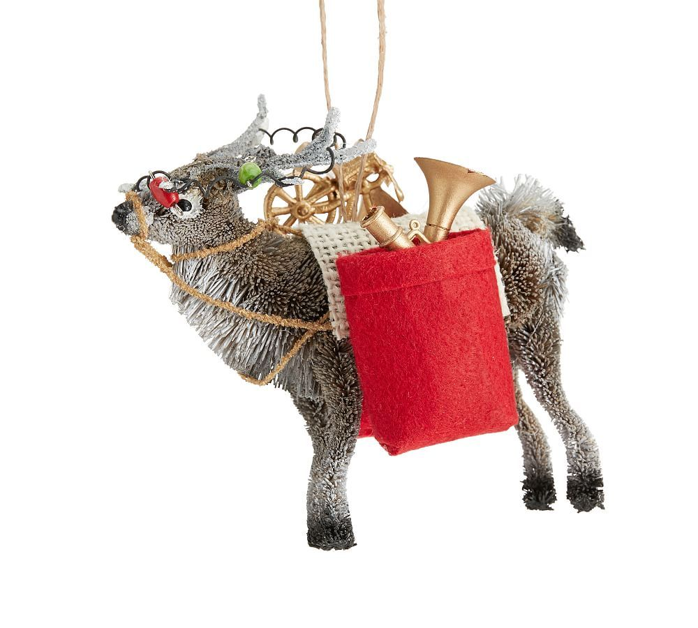 Bottlebrush Elk With Gifts Ornament Ornaments