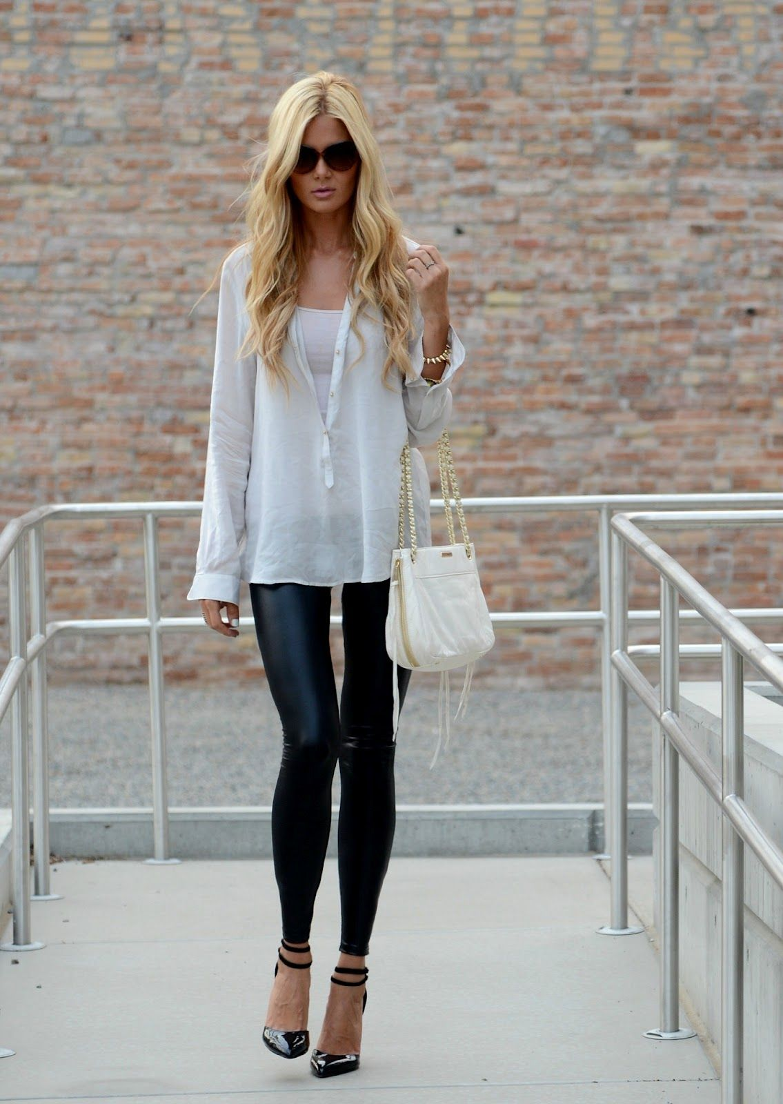 8d8b1ac567b8f blouse  zara   leather leggings  windsor   heels  asos   spike bracelet   asos   purse  Rebecca Minkoff...perfection