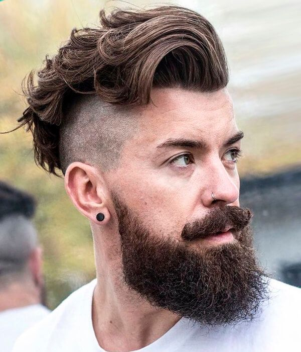 side cut and full beard hipster