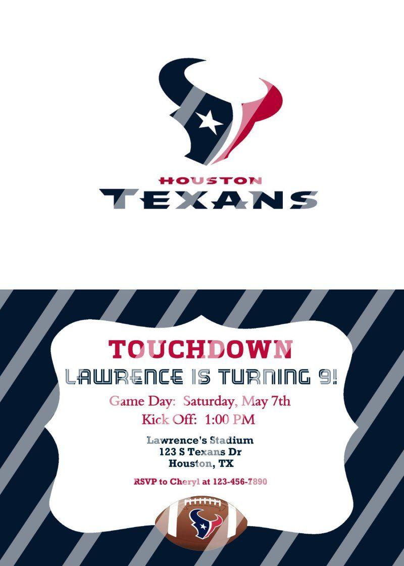 Houston Texans Personalized Digital Party Invitation #16 (any ...