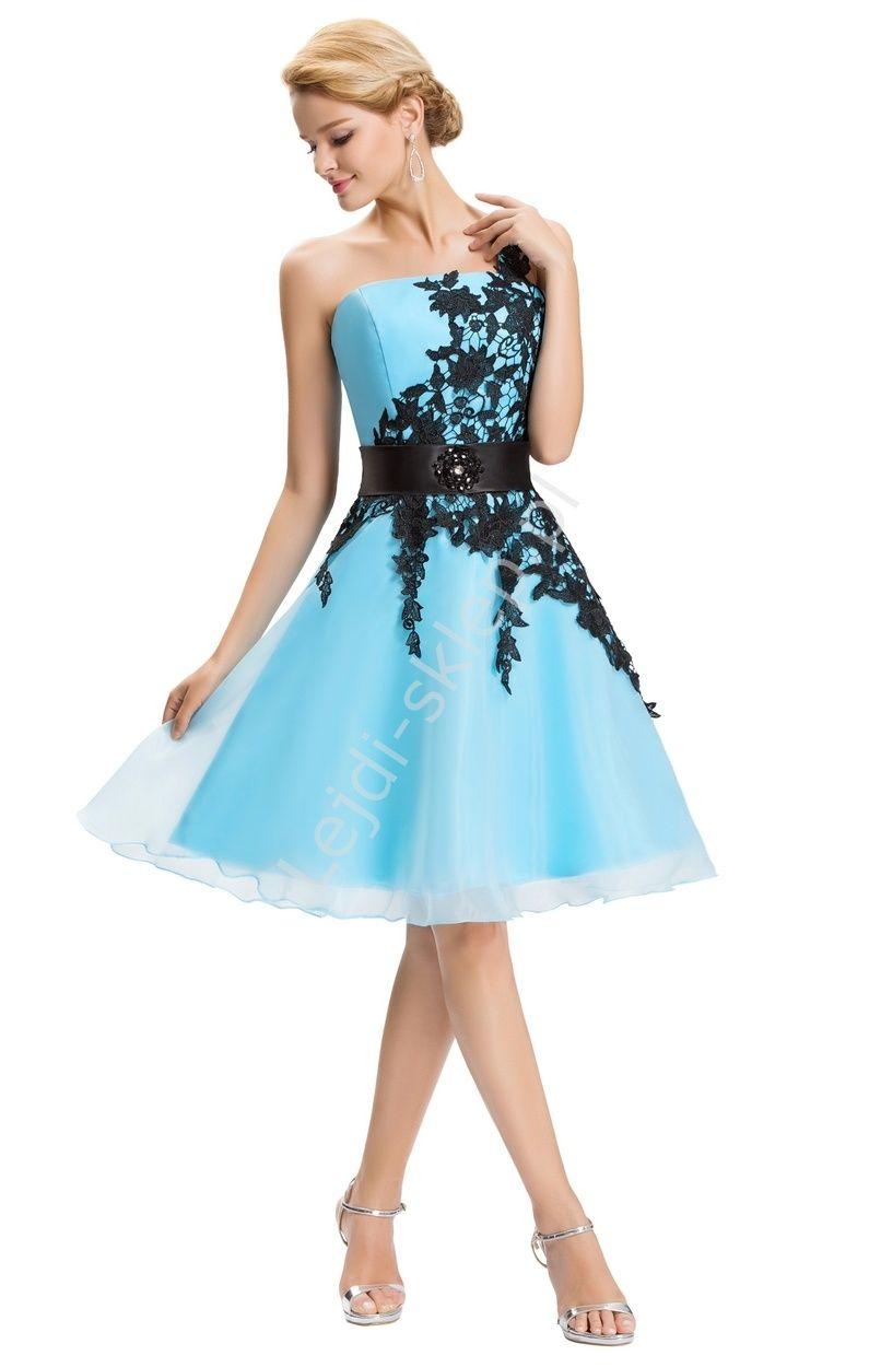 Błękitna sukienka z gipiurową koronką| sukienki na wesela, dla ...