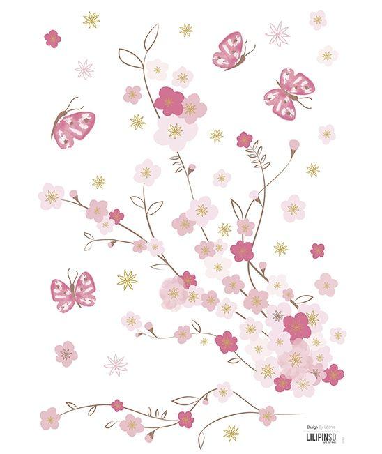 h3>sticker mural</h3><p>planche de stickers fleurs et papillons