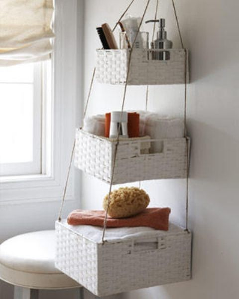 Genial Tips For Small Bathroom Organization   150 Dollar Store Organizing Ideas  And Projects For The Entire Home Hanging Baskets On Wall For Added Storage!