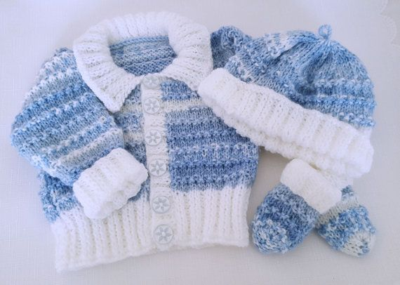 e38cb0eb6e8 Knitted Baby Clothes- Handmade Boys Homecoming Outfit - Sweater Set ...