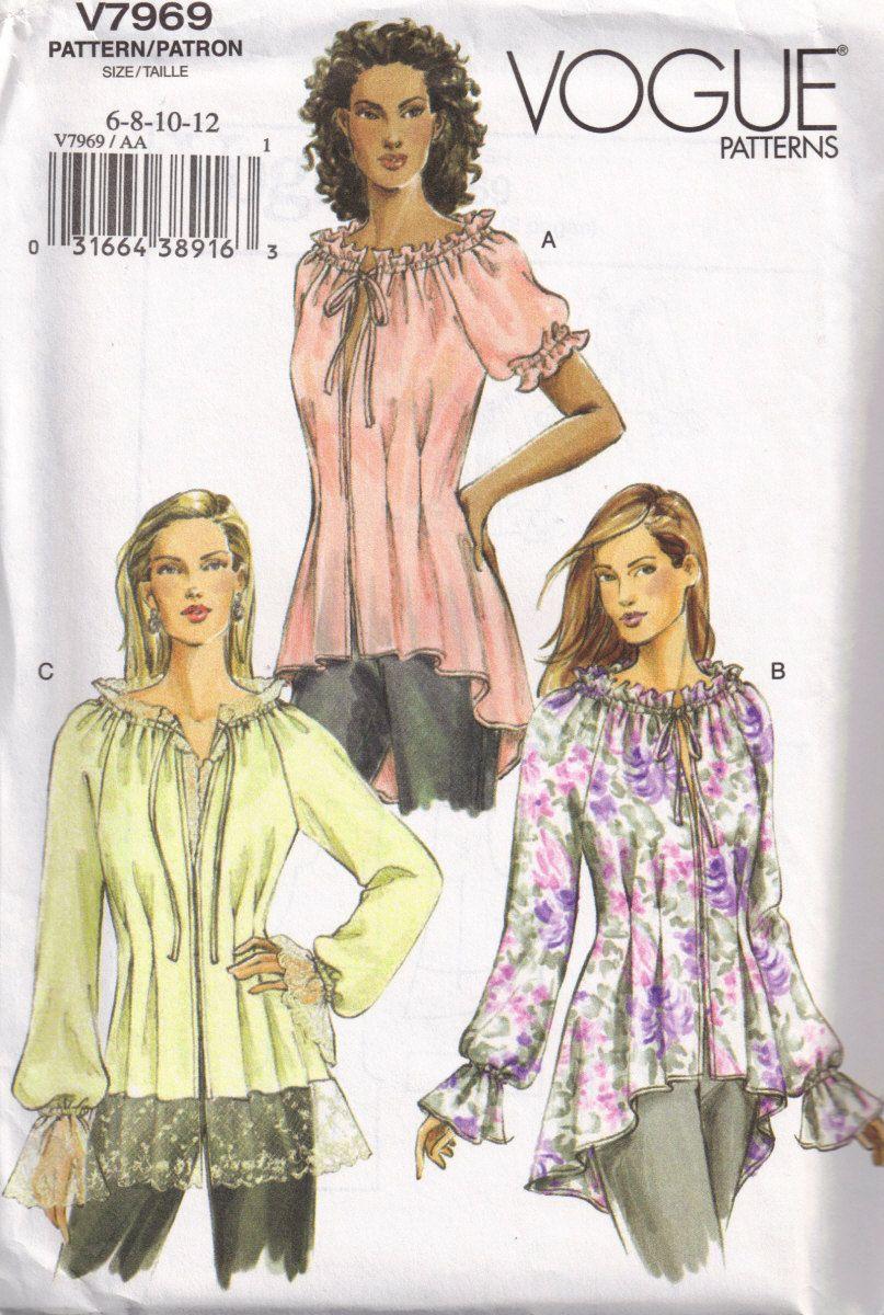 Bohemian tops vogue 7969 tunic blouse boho peasant top sewing bohemian tops vogue 7969 tunic blouse boho peasant top sewing pattern size 6 8 jeuxipadfo Choice Image
