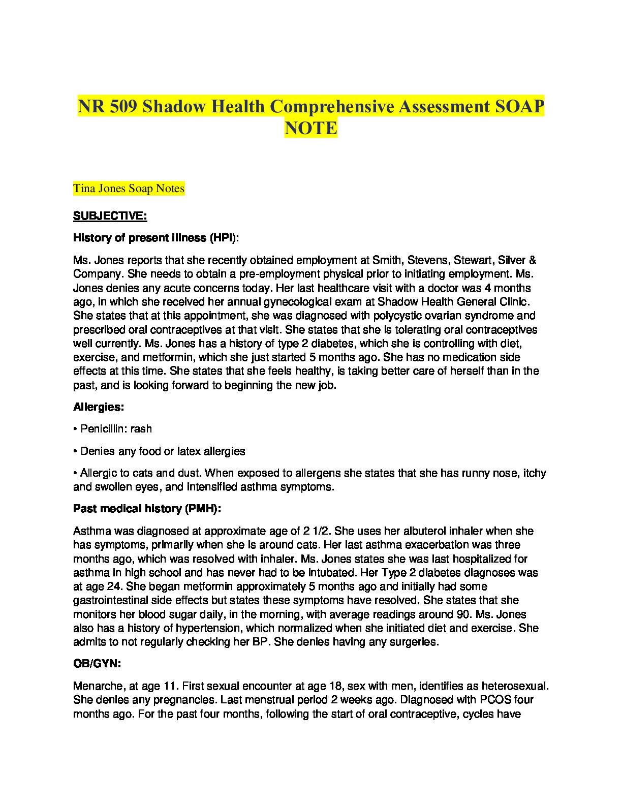 Nr 509 Shadow Health Comprehensive Assessment Soap Note In 2021 Assessment Soap Note Soap Notes