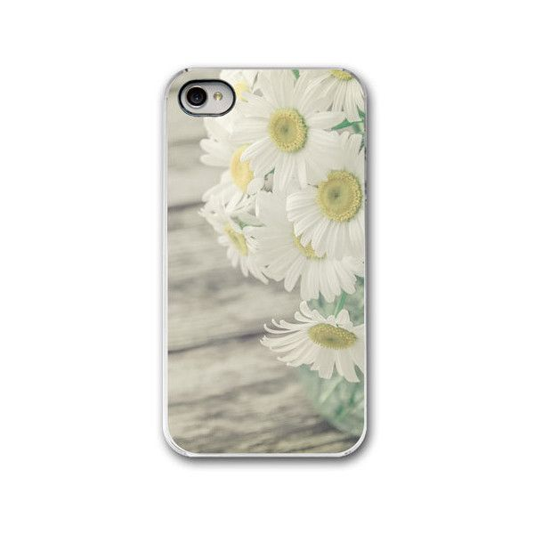 SALE - Flower iPhone 4 / 4S or iPhone 5 / 5S case, Daisies in a Mason... (35 BAM) ❤ liked on Polyvore featuring accessories, tech accessories, phone, phone cases, iphone sleeve case, white iphone case, iphone cases, flower iphone case and iphone cover case