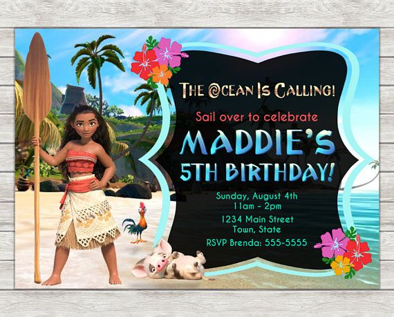 Moana Birthday Invitation Digital File Printing Services