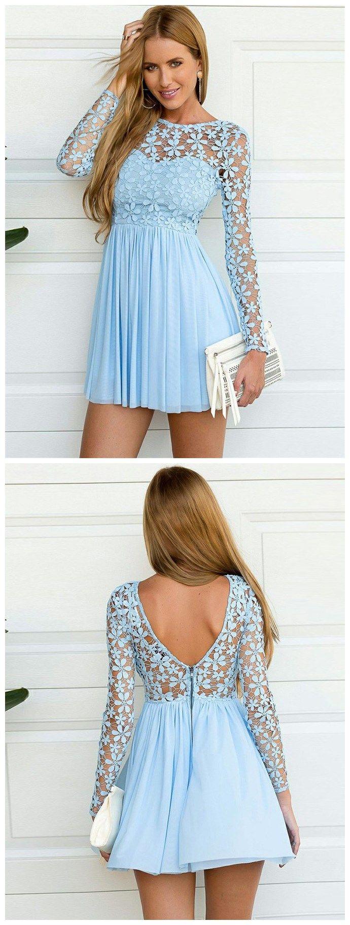 3c7c8cc6b6a Beautiful Chiffon   Lace Jewel Neckline A-line Homecoming Dresses ...