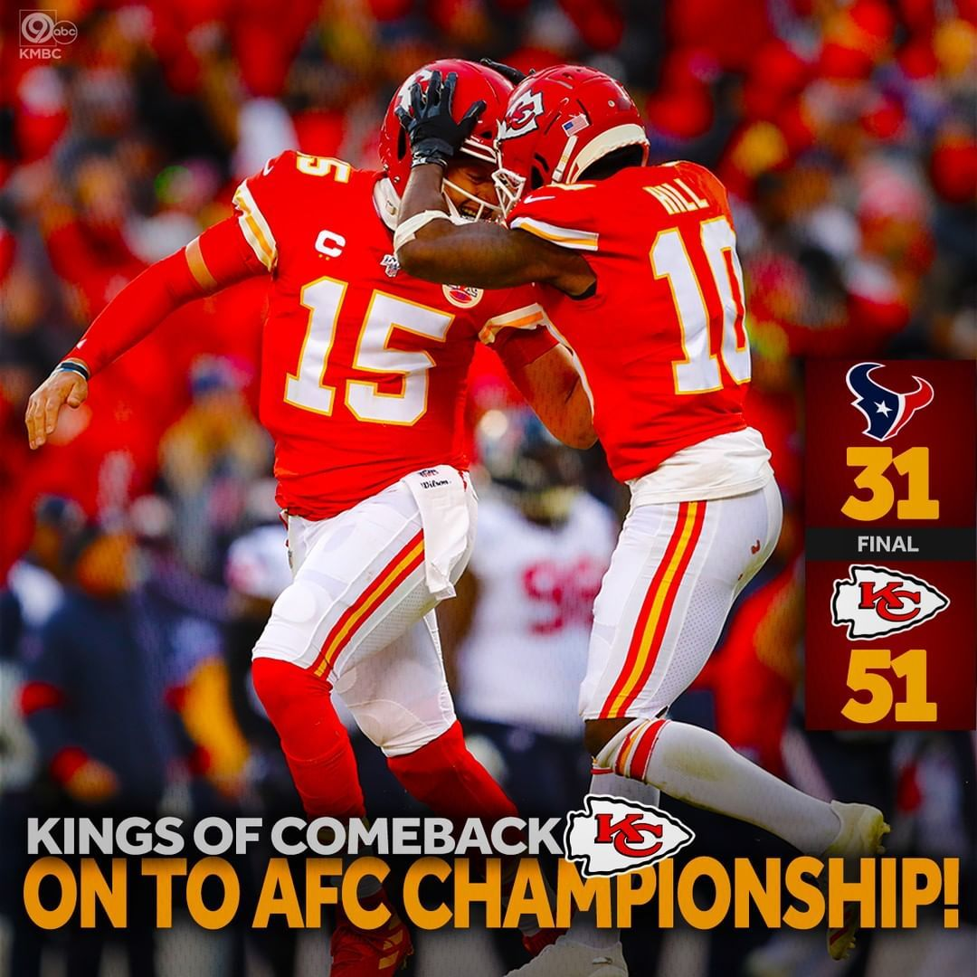 Kmbc 9 On Instagram Kings Of Comeback Chiefs Win On To The Afc Championship Bring On Ten In 2020 Kansas City Chiefs Logo Kc Chiefs Football Kansas Chiefs