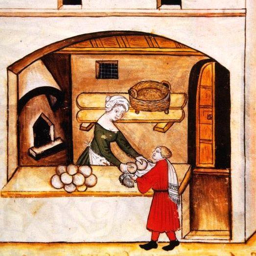 Boulangère vendant du pain médiéval
