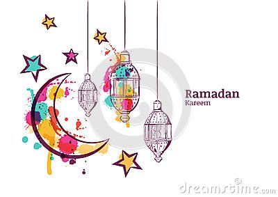 Ramadan greeting card or banner horizontal background traditional ramadan greeting card or banner horizontal background traditional watercolor lanterns moon and stars m4hsunfo