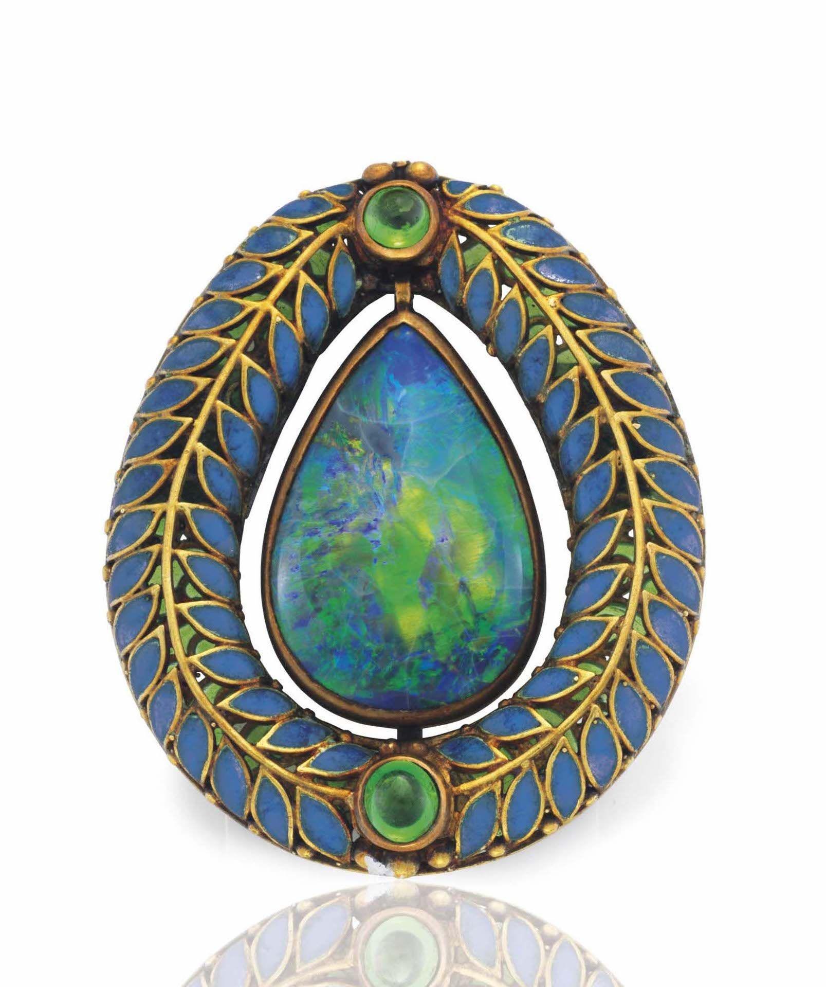 8790a0f9a Christies Sale 14760 Lot 151 A Black Opal, Demantoid Garnet And Enamel  Brooch