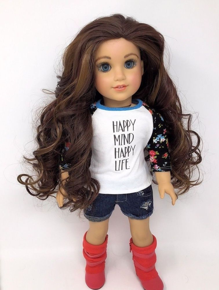 American Girl Zoey Ooak Custom Doll Curly Brown Hair Blue Eyes
