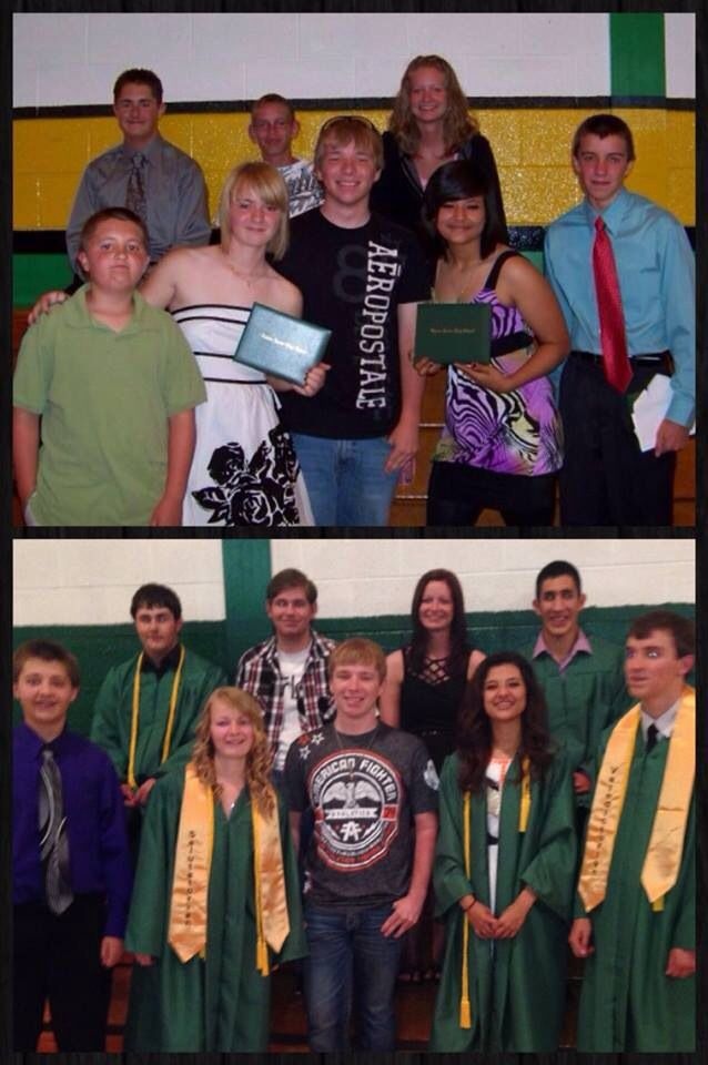 8th grade graduation to senior graduation retake pic.