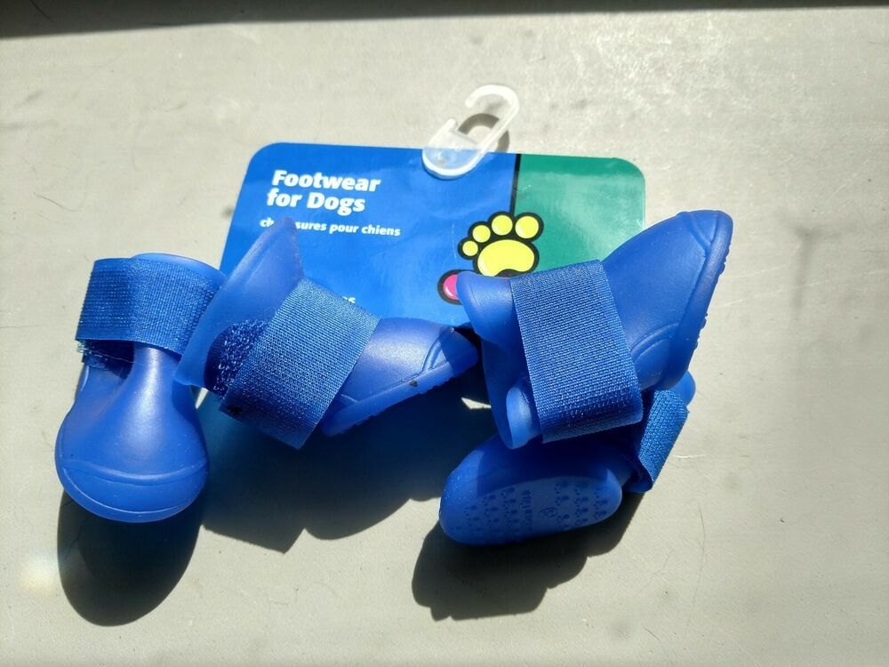 New, Blue Silicone Rain Booites for Dogs Size Small
