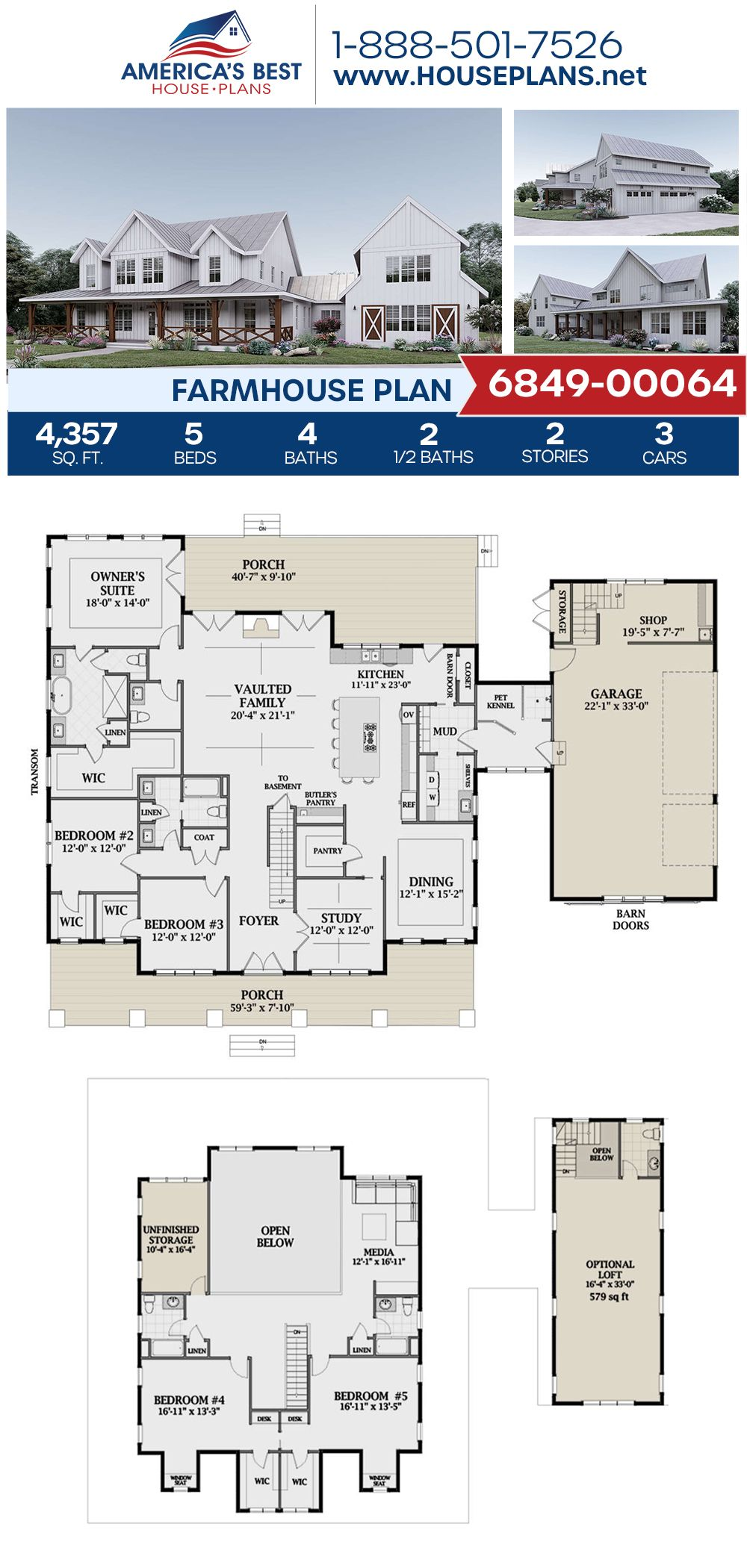 House Plan 6849 00064 Modern Farmhouse Plan 4 357 Square Feet 5 Bedrooms 5 Bathrooms In 2021 Modern Farmhouse Plans Farmhouse Floor Plans Farmhouse Plans