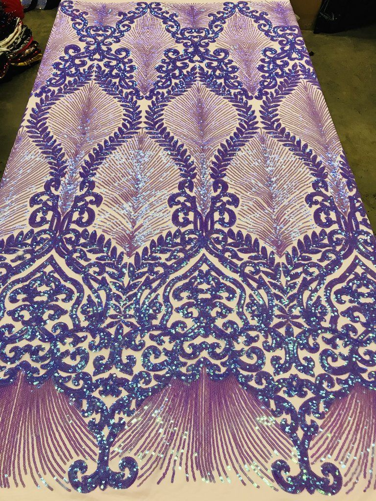LAVENDER GEOMETRIC DIAMOND DESIGN WITH SHINY SEQUINS ON A 4 WAY STERCH MESH.