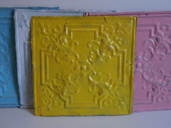 Antique Tin ceiling Tile 12 inch Square YELLOW shabby French country Nouveau Magnet Memo board Supplies Architectural Salvage