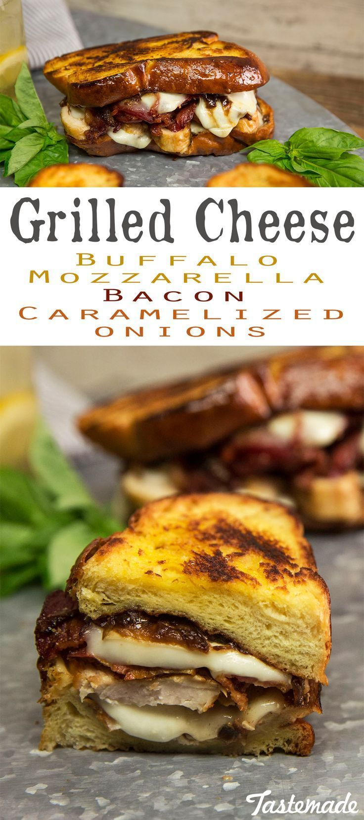 Elevate Your Grilled Cheese Game With Bacon Buffalo Mozzarella And Caramelized Recipes Buffalo Mozzarella Recipes Grilling Recipes