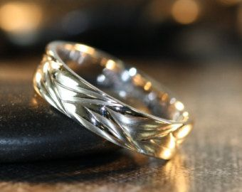 White Gold Wave Wedding Band Comfort Fit Unique Mens Ring Recycled Other Metals Engraving Available