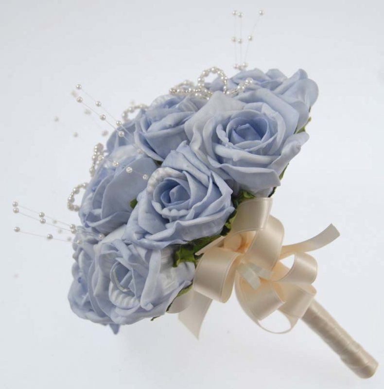 Yellow And Light Blue Wedding Bouquets Rose Bouquet With Pearls Bridesmaids