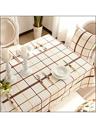 Autohome Cotton Canvas Tablecloths for House Dining Tea Table Hotel- 55x70 Inch White Coffee Plaid ❤ TABLECLOTH-Whiteplaid013