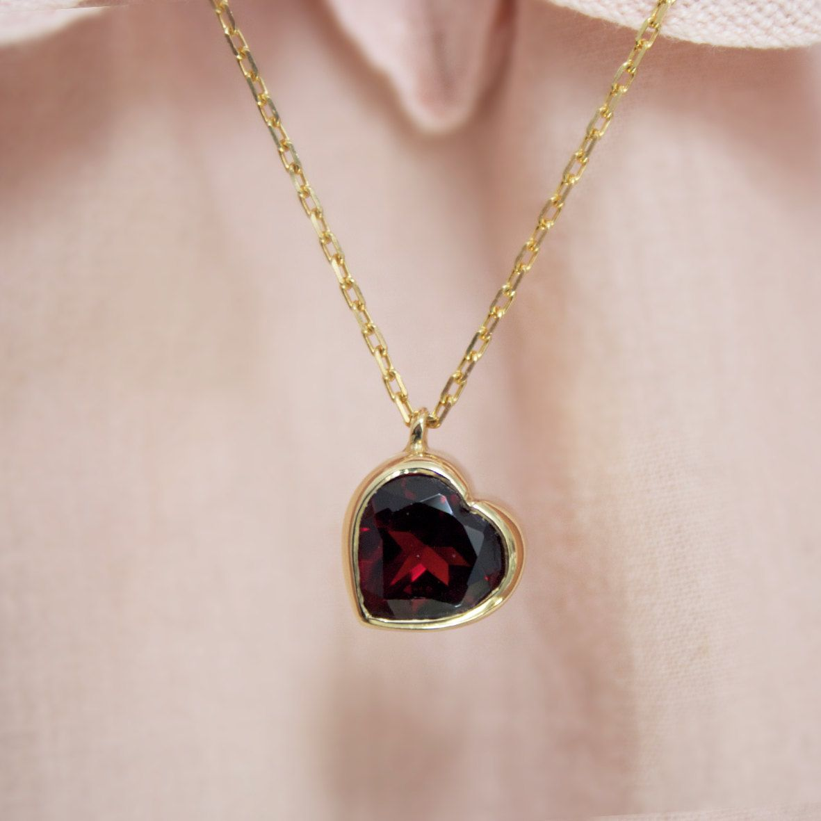 A garnet heart for the one you love.