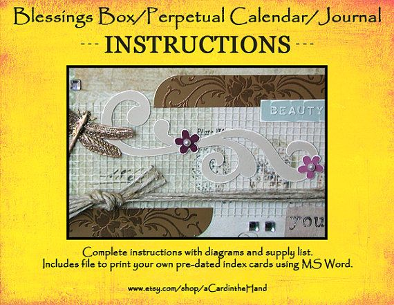 Instructions for Blessings Box Perpetual Calendar, Index Card - how to make a perpetual calendar