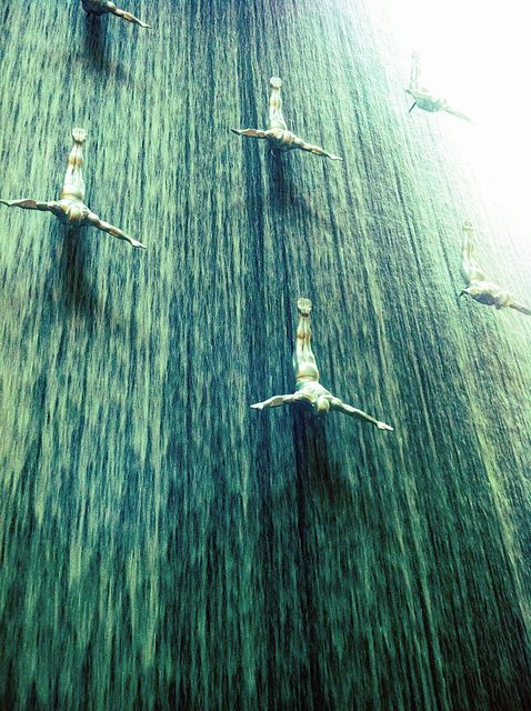 Water wall in dubai mall walls and