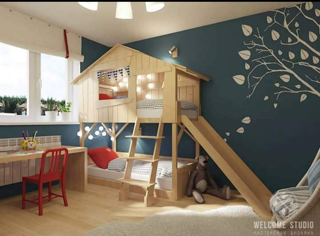 Kids Desk And Bunk With Upper Play Area Kids Bedroom