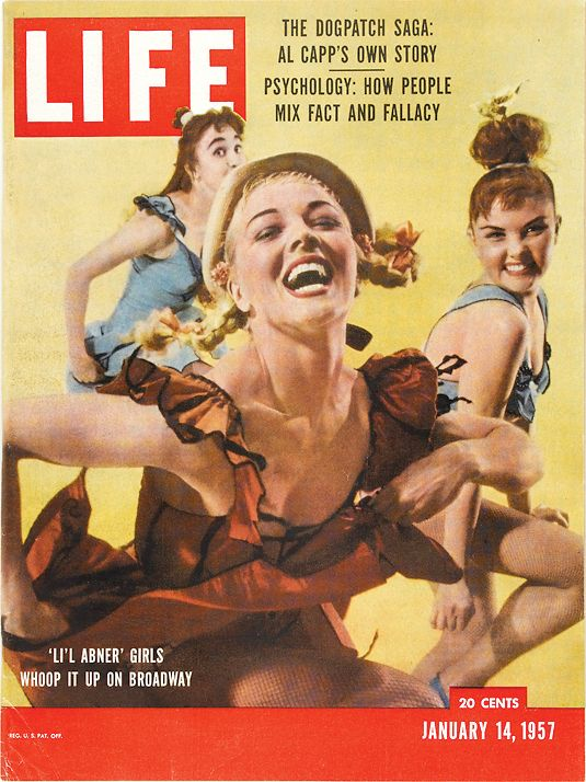 January 14, 1957: 'Lil Abner Girls' Whoop it up on Broadway
