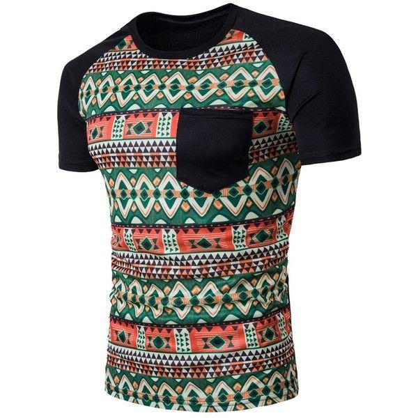 Raglan Sleeve Color Block Tribal Print Pocket T Shirt (26 BAM) ❤ liked on Polyvore featuring men's fashion, men's clothing, men's shirts, men's t-shirts, mens raglan t shirt, mens tribal print shirts, mens pocket t shirts, men's color block t shirt and mens raglan shirts