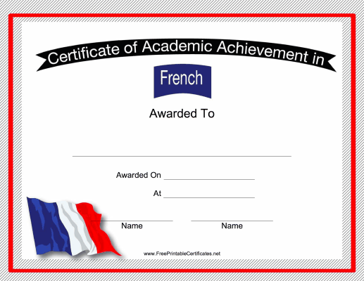 this free printable certificate of academic achievement in french