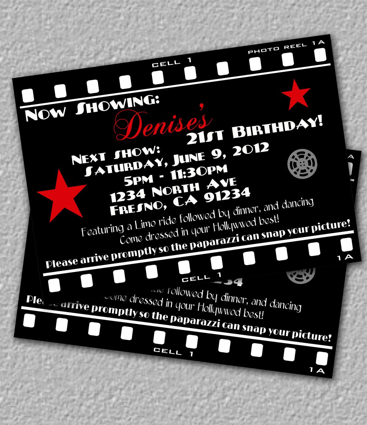 Hollywood Invitation, Printable Movie Invitation. $12.00, via Etsy ...