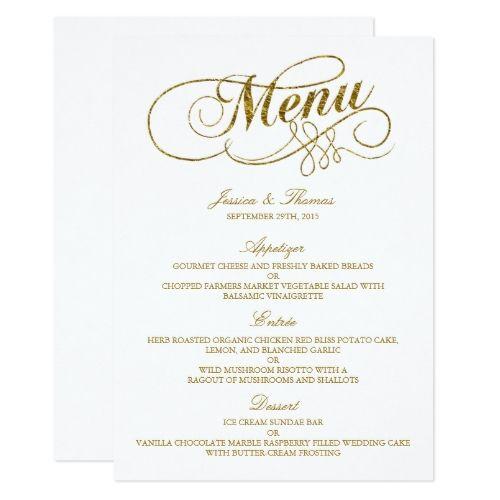 Chic Faux Gold Foil Wedding Menu Template Zazzle Com