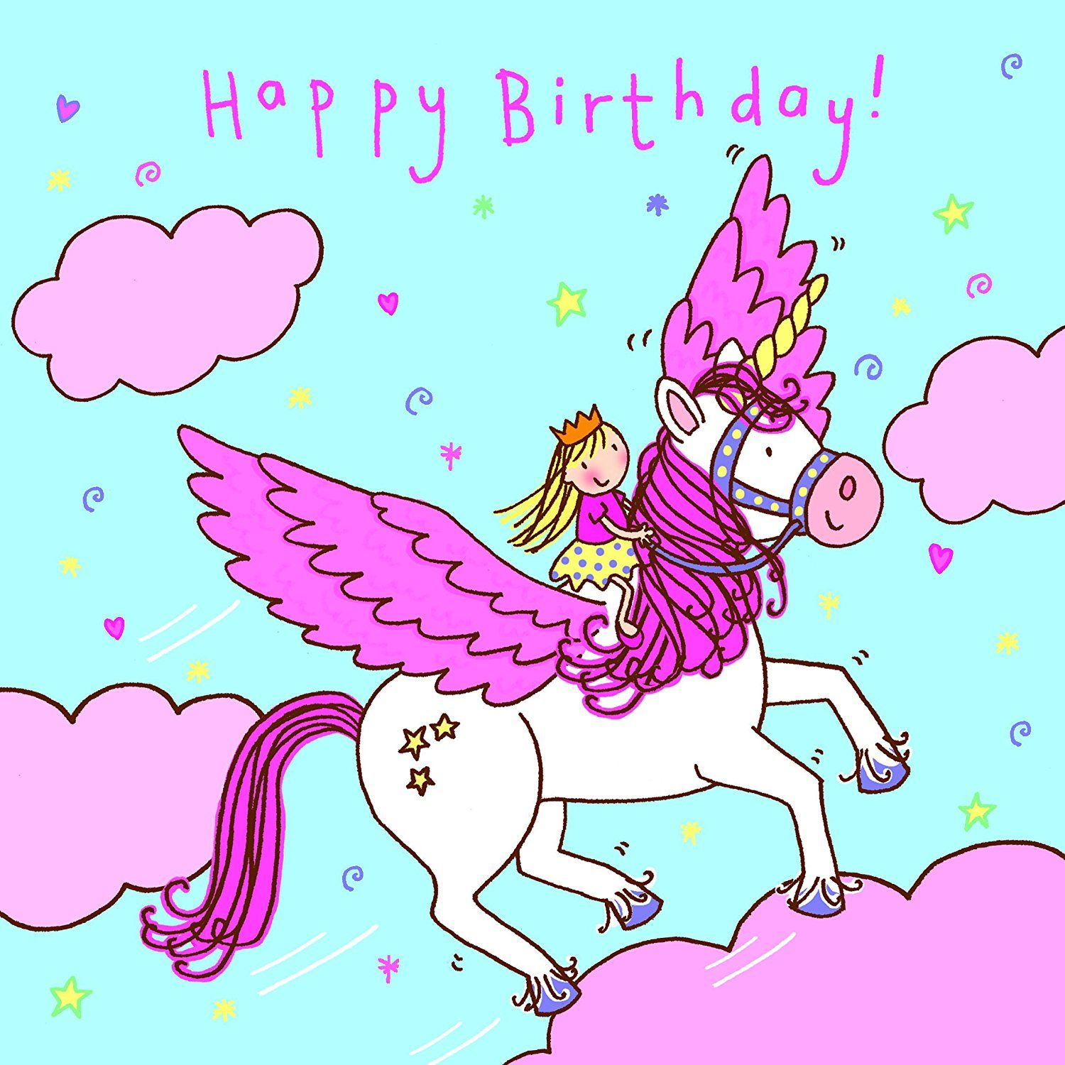 Twizler Happy Birthday Card for Girl Flying Unicorn Clouds and – Birthday Cards for Girl