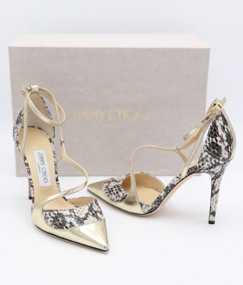 023a93b2edcd0 NIB Jimmy Choo Mutya Gold Snakeskin Point Toe Pumps Heels New 7 37 ($775)