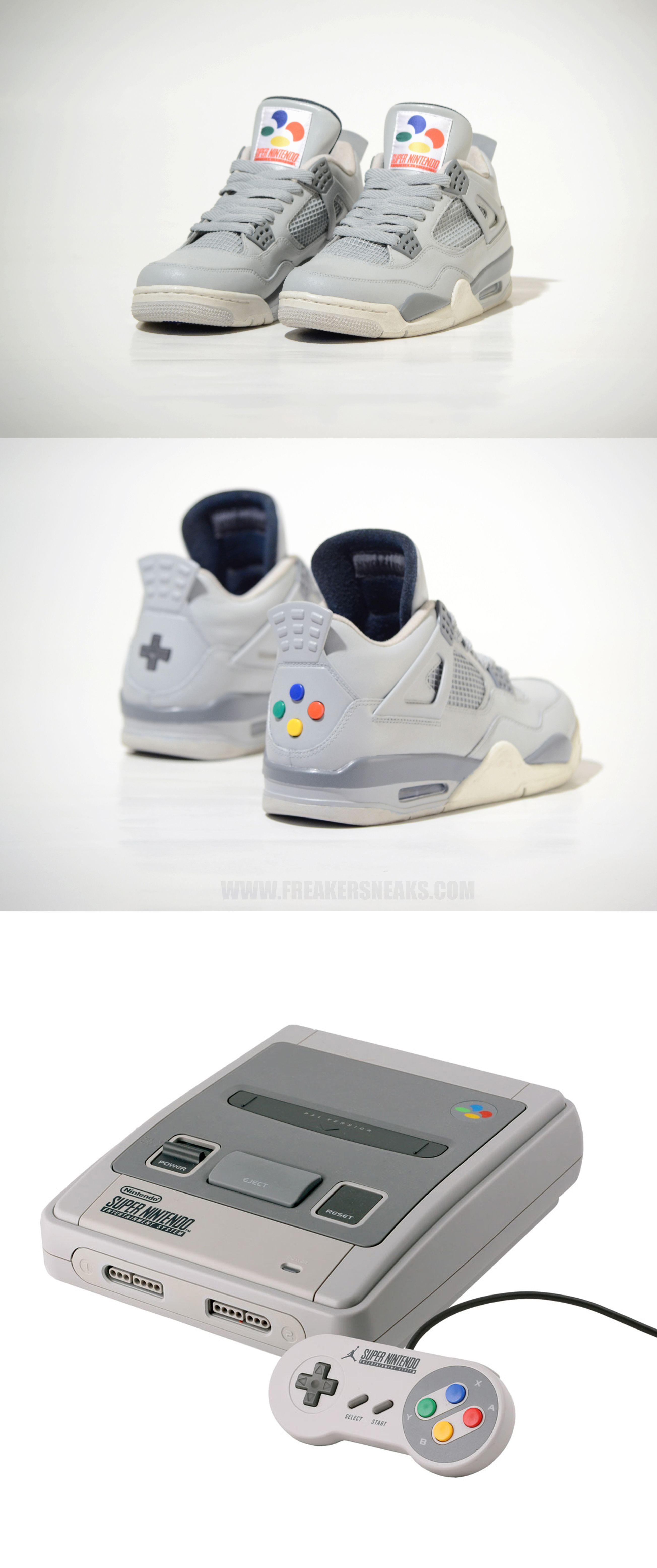 "promo code f271c db777 ... Air Jordan 4 ""Super Nintendo"" Custom by Freaker Sneaks ..."