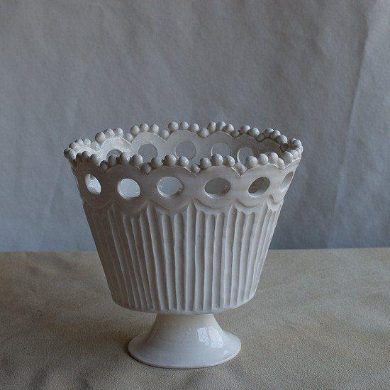 White Earthenware Cache Pot